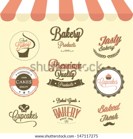 Cupcakes  and bakery labels set - stock vector