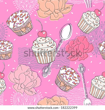 Cupcakes and Roses seamless pattern - stock vector