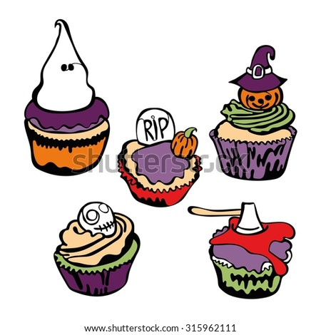 Cupcakes for Halloween. Isolated objects. - stock vector