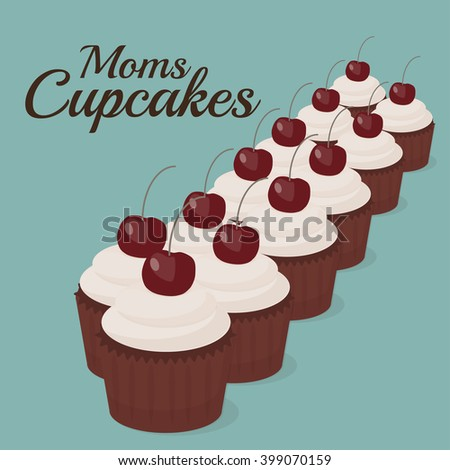 Cupcakes illustration. Cartoon cupcakes with cherry. Cupcakes vintage poster. Cupcakes background. Colorful cupcakes card. Modern flat cupcakes illustration. Cupcakes with text art - stock vector