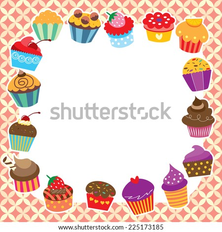 cupcakes layout design - stock vector