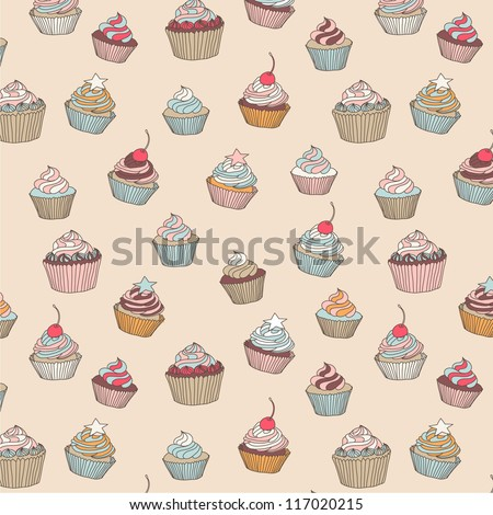 Cupcakes sweets seamless doodle vector pattern hand drawn - stock vector