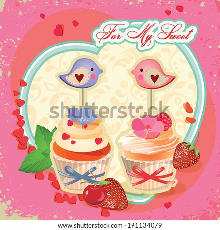 Cupcakes with birds. Mothers day card in vintage style. Valentine's day poster. - stock vector