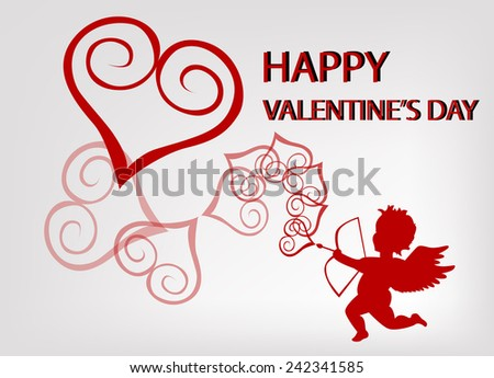 Cupid and heart with valentine background - stock vector