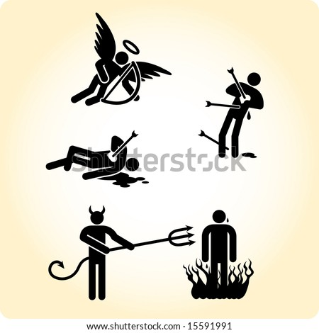 Cupid angel and simple devil at work. Victim of love and sinner doom concept - stock vector