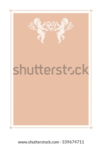 Cupid angels. Greeting card with a space for text. Valentines day. Vector frame. Beige background. - stock vector