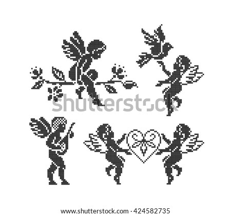 Cupid angels. Valentines Day. Set. Cross stitch. Scheme of knitting and embroidery. Vector. - stock vector