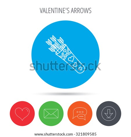 Cupid arrows icon. Love weapon sign. Mail, download and speech bubble buttons. Like symbol. Vector - stock vector
