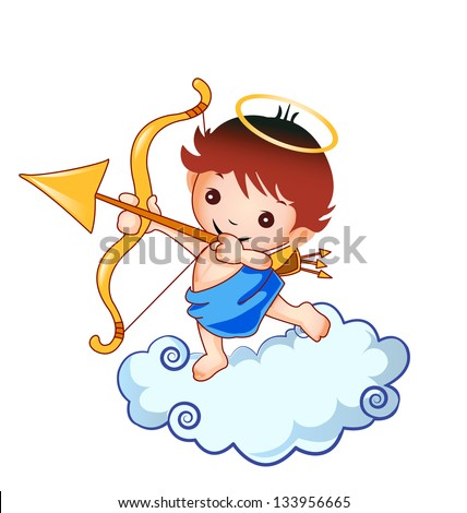 Cupid baby and cloud design  - stock vector