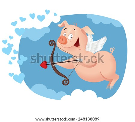 Cupid Pig Vector Funny Cartoon - Illustration of a sweet piggy flying in Valentine card concept  - stock vector