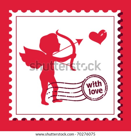 cupid shooting heart stamp - stock vector