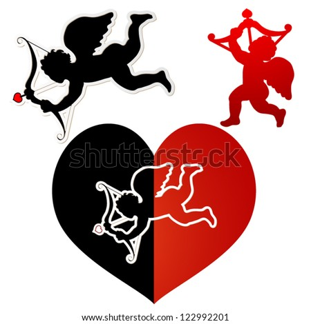 Cupid silhouette black and red