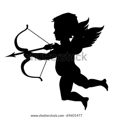 Cupid silhouette isolated on white - stock vector