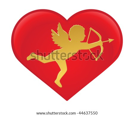Cupid vector silhouette - stock vector