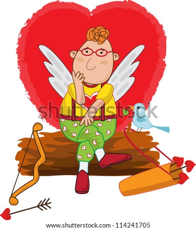 Cupid waits for love A vector illustration of a cute cupid sitting on a log and thinking.