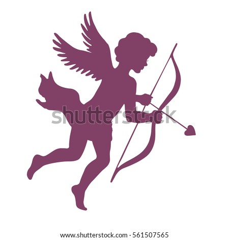 Cupid with bow and arrow, silhouette vector illustration, isolated on white background.