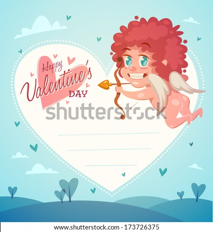 Cupid with bow and arrow. Valentine's Day Card. Vector illustration. - stock vector
