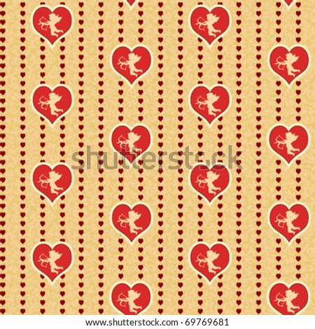 cupid with heart seamless background pattern - stock vector