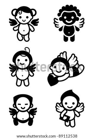 Cupids set, collection angels. Suitable for valentine's day-one of a series of similar images - stock vector