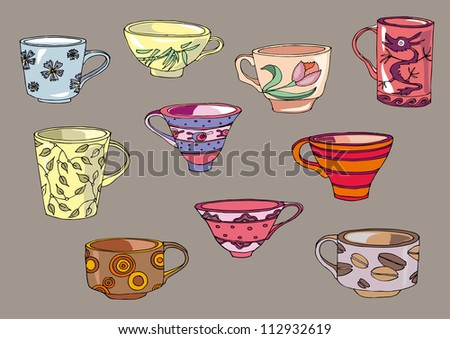 cups - stock vector