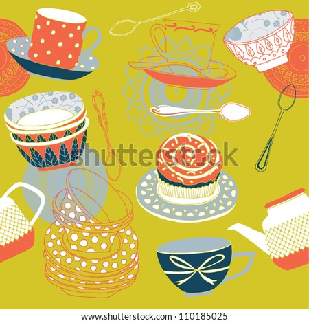 cups and cakes, seamless pattern - stock vector