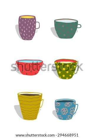 Cups and Mugs Ceramics Colorful Fun Set. Hand drawn porcelain ornate dishes collection illustration.  Isolated on white. Transparent shadows. - stock vector