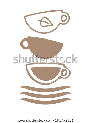 Cups for coffee and tea, tea time - stock vector