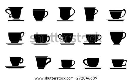cups improvement silhouettes on the white background - stock vector