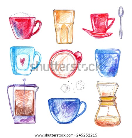 Cups of tea and coffee, drawn with colored pencils on white background. ?ector drawing with crayons white paper - stock vector