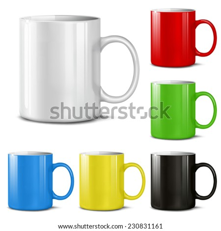 Cups of various colors on a white background. Mesh. This file contains transparency. - stock vector