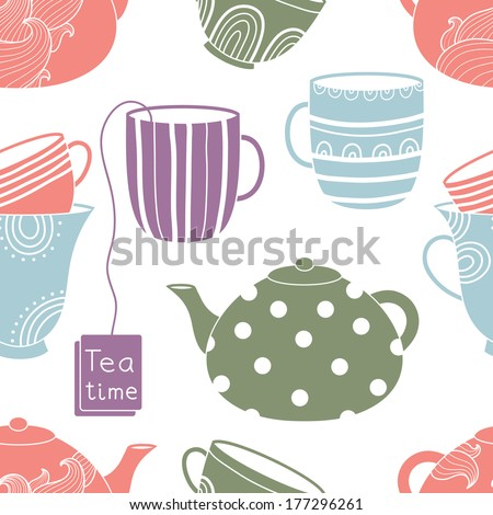 Cups seamless pattern - stock vector