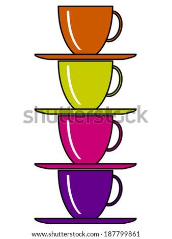 Cups set. - stock vector