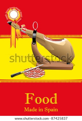 cured ham made in spain - stock vector