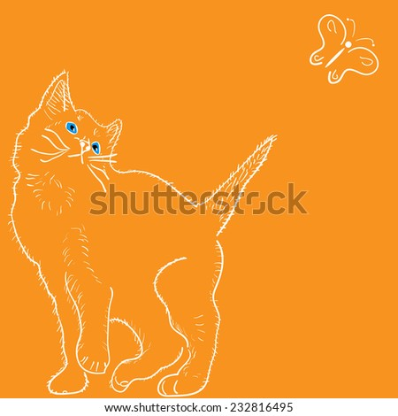 curious cat and butterfly - stock vector