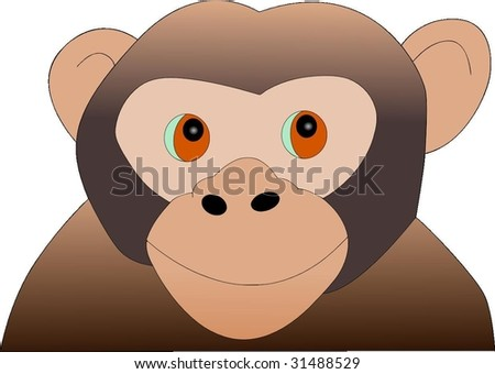 Curious Young Monkey Vector Drawing - stock vector