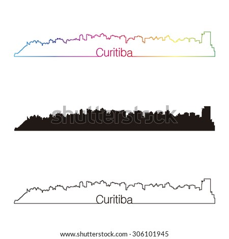 Curitiba skyline linear style with rainbow in editable vector file