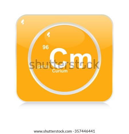 curium chemical element button - stock vector