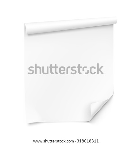 Curled blank paper sheet on white background. Vector illustration - stock vector