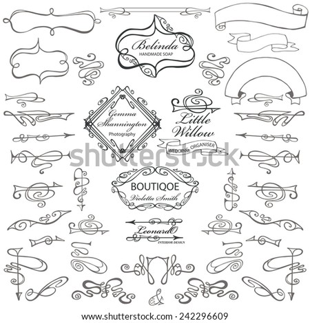 Curled calligraphic design elements for logo template,constructor.Swirling decor elements,borders,ribbons,arrows.For invitation,sbusiness card,restaurant menu.Art Nouveau style.Vector - stock vector