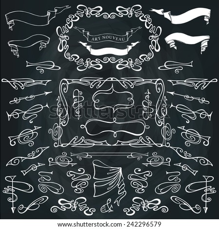 Curled calligraphic design elements set.Swirling decor elements���¡borders,ribbons,arrows on Chalkboard.For Wedding  invitation,save date,Valentine card,restaurant menu.Art Nouveau style.Vector - stock vector