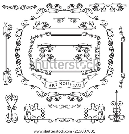 Curled calligraphic design elements set.Swirling decor elements,frame,borders,ribbon,arrows.For Wedding  invitation,save the date card,restaurant menu.Decor in style of art Nouveau.Vector. - stock vector