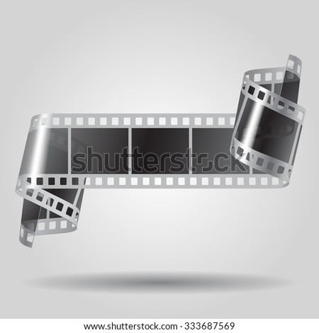 Curled film strip in black and white colors. Movies concept. Vector illustration - stock vector