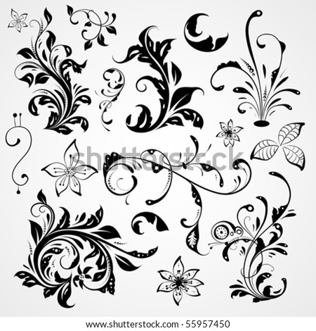 curled flowers ornament collection, vintage nature design - stock vector