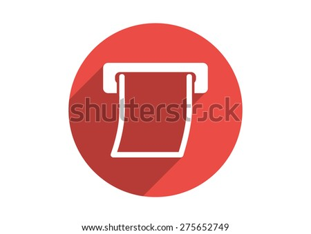 Curled paper check going out from ATM slit vector icon - stock vector