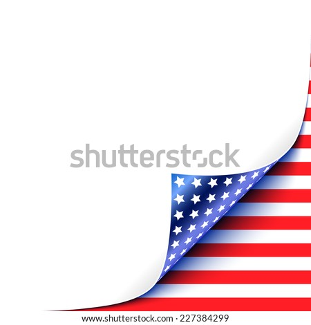 Curled White Paper Corner with USA Flag Background.Vector Illustration - stock vector