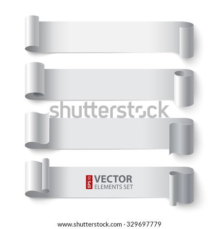 Curled white paper stripe banners with realistic shadows on gray background. RGB EPS 10 vector elements set - stock vector