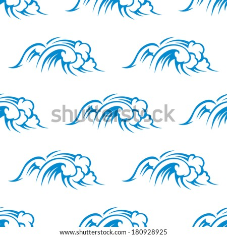 Curling breaking waves at sea in a repeat seamless nautical themed pattern in blue suitable for fabric or wallpaper - stock vector