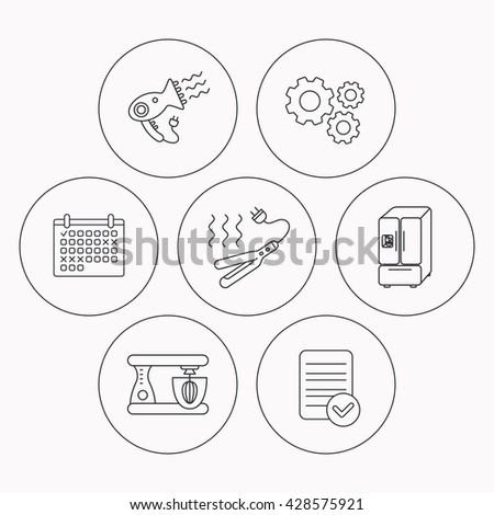 Curling iron, hair dryer and blender icons. American style fridge linear sign. Check file, calendar and cogwheel icons. Vector