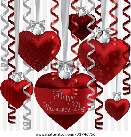 Curling ribbon heart bauble Happy Valentine's Day card in vector format. - stock vector