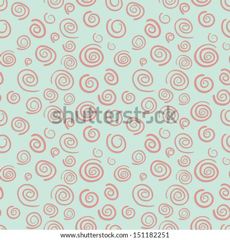 Curls seamless vector pattern in old-fashioned style - stock vector